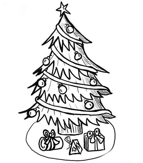 Christmas Tree Coloring Page 4