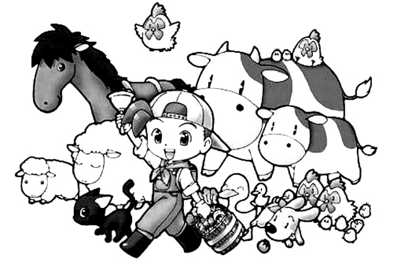 Harvest Moon Coloring Page 1